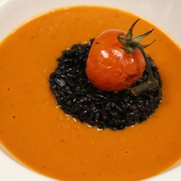 Roasted Heirloom Tomato Soup with Forbidden Rice